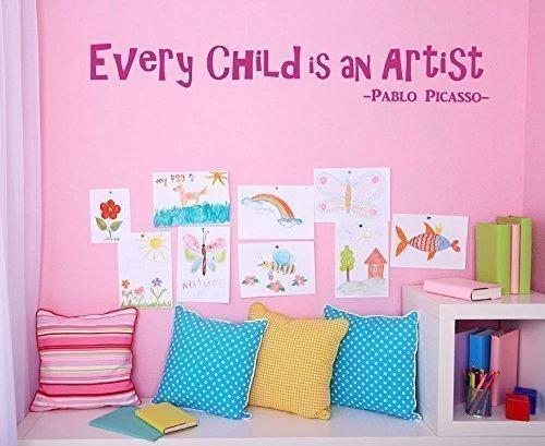 Weil jede Kind ist ein Künstler Wand Aufkleber Kindergarten Kinderspielzimmer Küche Schlafzimmer Aufkleber Pablo Picasso Spruch - Gold Matt, Large (Küche Makeover)
