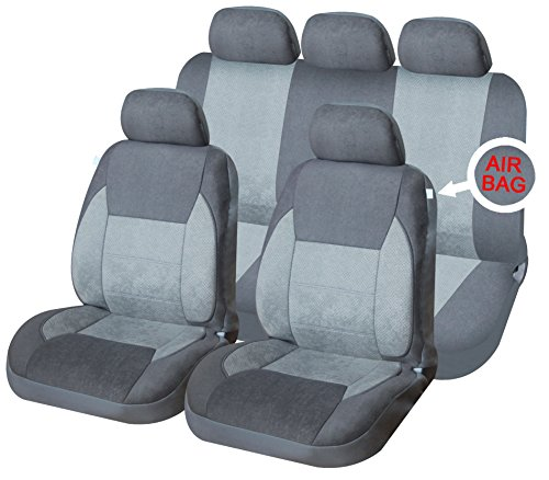 XtremeAuto® Mayfair Premium Warm Grey with enhanced soft padding Full Set of Car Seat Covers Includes XtremeAuto Sticker