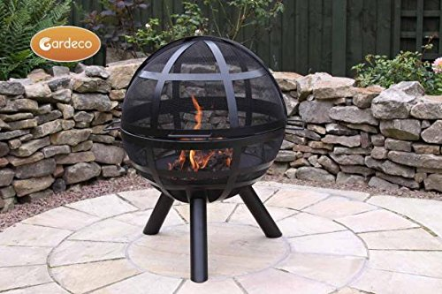 Gardeco ISON Feuerkorb, schwarz, 60x 60x 80cm