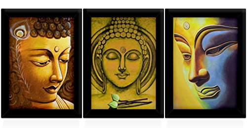 tied ribbons buddha framed paintings set of 3 (13.6 inch x 10.2 inch) Tied Ribbons Buddha Framed Paintings Set Of 3 (13.6 Inch X 10.2 Inch) 51XWEjwlCpL