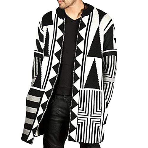 ff9cfc46e780 Men s Autumn Winter Fashion Trend Personality Black White Grey Stitching  Coat by LuckyGirls