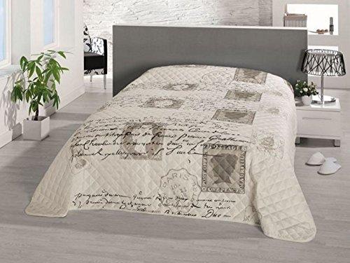 Fashion&Joy XL Bettüberwurf Tagesdecke Gesteppt 220x240 Steppdecke Vintage Love Letter Überwurf Ökotex Decke Typ456