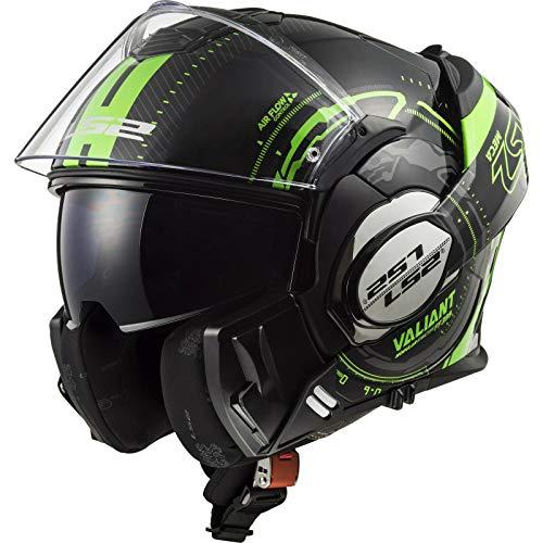 LS2 FF399 Valiant Casco Modulare Moto Doppia Visiera Scooter Motorino Casco Moto Donna e Uomo Black-Glow Green XS (53-54cm)