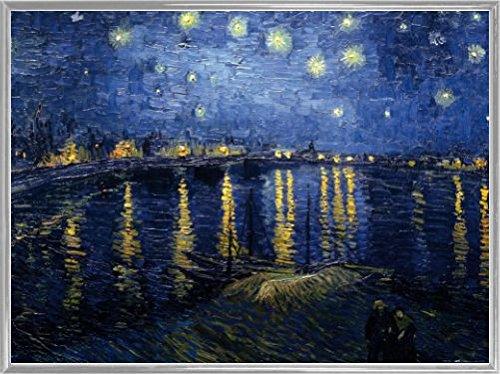 Vincent Van Gogh Poster Kunstdruck und Kunststoff-Rahmen - Sternennacht Über Der Rhône, 1888 (80 x 60cm)