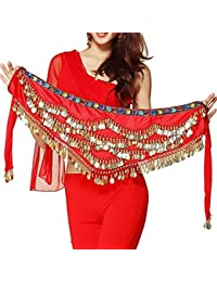 5b94c2d1b9 Red Velvet Belly Dance Hip Scarf Waistband Belt Skirt with Multi Color  Beads and 300 Ringy