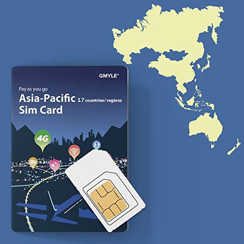 GMYLE 4G LTE/3G wiederaufladbare Prepaid SIM Karte mit 5 GB Datenvolumen Bündel Für 14 Tage in Asien-Pazifik 15 Länder und Regionen: China, Japan, Südkorea, Thailand, Philippinen, Hongkong usw. China 14