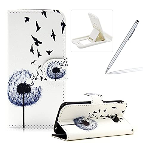 For Samsung Galaxy S6 Magnetic Closure Flip Portable Carrying Case,Book Style Pu Leather Foldable Stand Wallet Full Body Pouch Smart Case with Card Slots For Samsung Galaxy S6,Herzzer Fashion Premium High Quality [Flying Birds Dandelion Pattern] Folio Protective Case Cover with Soft TPU Inner Protector Back Case For Samsung Galaxy S6 + 1 x White Cellphone Kickstand + 1 x Silver Stylus Pen
