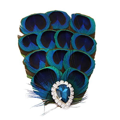 Pince à Cheveux Plume de Paon Synthétique Bleu Barrette Décorative pour Mariée