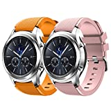 Gosuper Samsung Gear S3 Cinturion,Silicone Morbido Sport Veloce smontaggio Replacement Bracelet per Samsung Gear S3 Frontier/S3 Classic/Galaxy Watch 46mm(2-Pack)