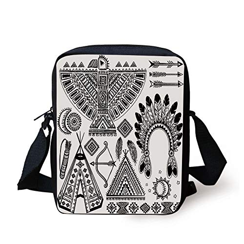 Tribal,Native American Feather Head Band Ethnic Teepee Tent Bow and Arrow Art Print,Black and White Print Kids Crossbody Messenger Bag Purse