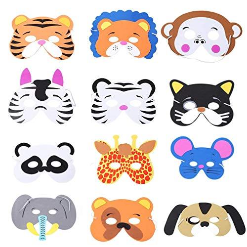 Kindermasken,12er Pack Masken für Kinder EVA Tiermasken Tier Schaumstoff Masks für Kinder Geburtstagsparty Karneval Bevorzugungen Kostüm