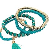 Fulltime(TM) Women Multilayer Beads Bangle Tassels Bracelets (Green)