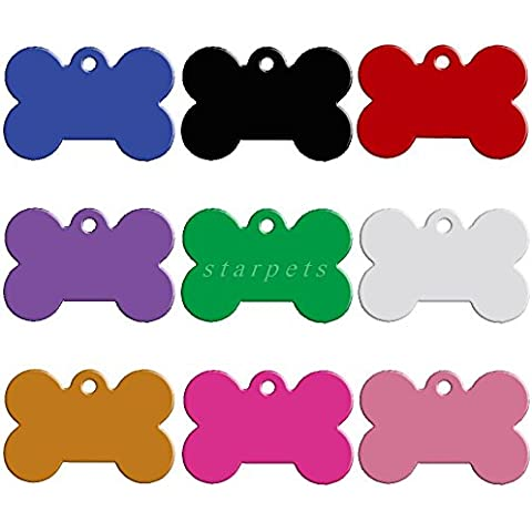 Efficiat (TM) 20pcs / lot alluminio di identificazione dell'animale domestico tag personalizzato inciso il gatto del cane personalizzati nome Numero di telefono Tag Bone cuore Round Round forme di piede Misto