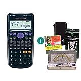 Casio FX-82DE Plus + Schutztasche + Geometrie-Set + Lern-CD (auf Deutsch)