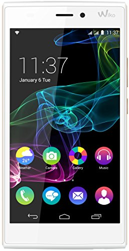 Wiko Ridge 4G Dual-Sim Smartphone (12,7 cm (5 Zoll) Touch-Display, 16 GB Speicher, Android 4.4.4) weiß/champagner
