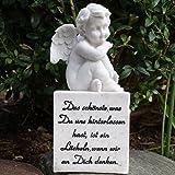 Grabfigur Engel auf Deko Grabstein mit Trauerspruch. 14cm. 1 Stück