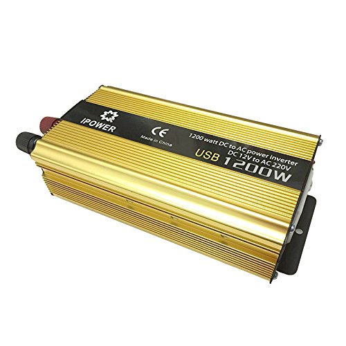 Ipower Modifizierter Sinus Wechselrichter für Auto Boot Transformator Spannungswandler 1200 W DC 12V bis AC 220-240V USB