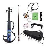 ammoon Full Size 4/4 E-Violine Fiddle Ahornholz Saiteninstrument Ebenholz Griffbrett Chinrest mit 1/4 'Anschluss Kabel Kopfhörer Kasten für Musikfreunde Anfänger