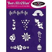 """Kit de plantillas para tatuajes temporales: """"Lo mejor de GlitZGlam"""" Tatuajes para niños, adolescentes y adultos de GlitZGlam"""