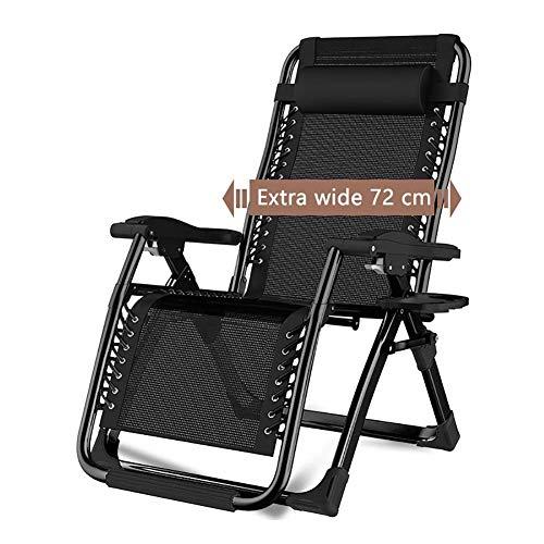 Terrasse Stühle Liegen Schwerelosigkeit Liegen Strand Übergroßen Rasen Camping Tragbaren Stuhl Klapp Sonnenliege Mit Getränkehalter Unterstützung 200 kg Multifunktions-Liegestuhl ( Color : Black ) -