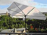 AUSVERKAUFT IN 2017 - STABIELO - EXKLUSIV Hollymat ® Balkonfächerschirm - Hollysun- AIDA - BEZUG HUSUM ZANGENBERG - Farbe NATUR / WEISS - WASCHBAR-ABNEHMBAR-AUSTAUSCHBAR -140 x 70 cm mit 360 ° schwenkbarer Universalgelenkhalterung STGVC 2030 SC + Gummikappen zur kratzfreien Befestigung für Geländer bis 35 mm Ø - INNOVATIONEN MADE in GERMANY - HOLLY PRODUKTE STABIELO ® - holly-sunshade ®
