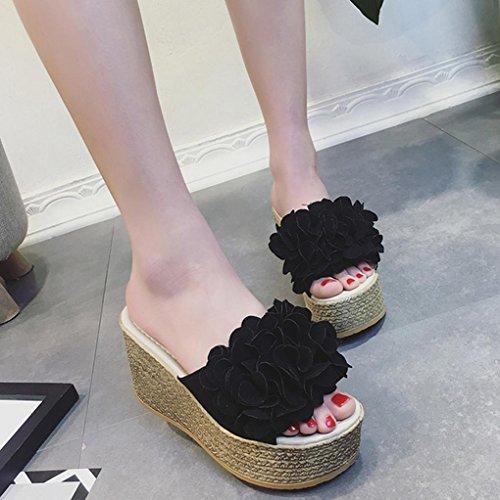 DM&Y 2017 fiori femminili sulla pista estiva con tacco alto sandali fondo pesante scarpe Black