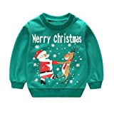Kleinkind Kinder Baby Mädchen Jungen T-Shirts Lange Ärmel Karikatur Oberteile Weihnachten Drucken Zur Seite Fahren Oberteile ✨LANSKIRT