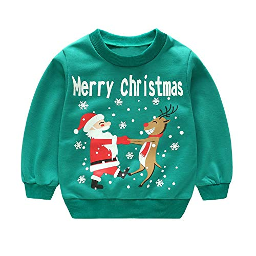 (Kleinkind Kinder Baby Mädchen Jungen T-Shirts Lange Ärmel Karikatur Oberteile Weihnachten Drucken Zur Seite Fahren Oberteile ✨LANSKIRT)