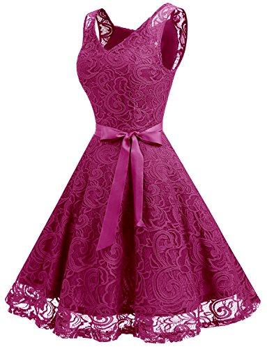 Dressystar Brautjungfernkleid Ohne Arm Kleid Aus Spitzen Spitzenkleid Knielang Festliches Cocktailkleid Fuchsie