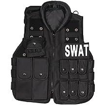 UNIQUEBELLA Chaleco de combate niño militar táctico para Airsoft CS Game Cosplay entrenamiento formación Randonné caza, color negro Negro SWAT Talla: 45CM