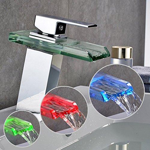 Auralum RGB LED Licht Wasserhahn Glas Waschtisch Spüle Armatur Waschtischarmatur Küchen - 3