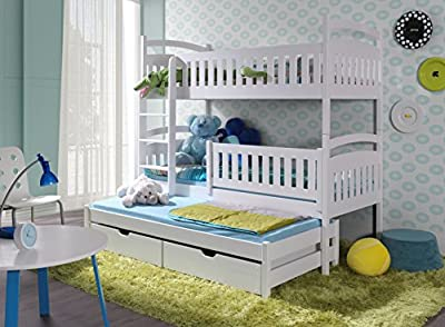 "BED ""ANN 3"", Bunk Bed with Mattresses for 3 children, Wooden Triple Bunk Bed - low-cost UK light shop."