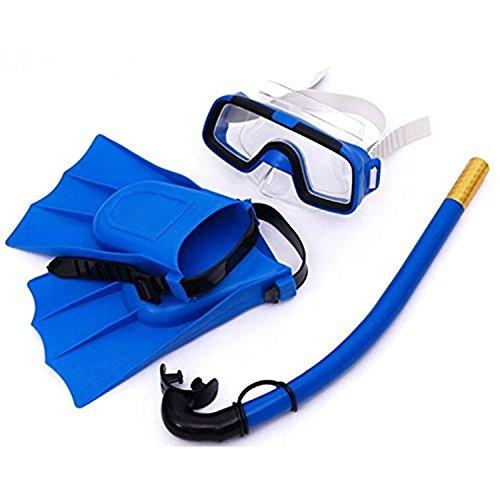 ZJchao Schnorcheln Tauchset Silikon Flossen + Schwimmbrille + Schnorchel für 3-7 Jahren Kinder (Blau)