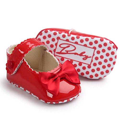 Clode® Bébé Fille Bowknot Chaussures en Cuir d'espadrille Anti-dérapant Bébé Semelle Souple (6 ~ 12 mois, blanc) rouge
