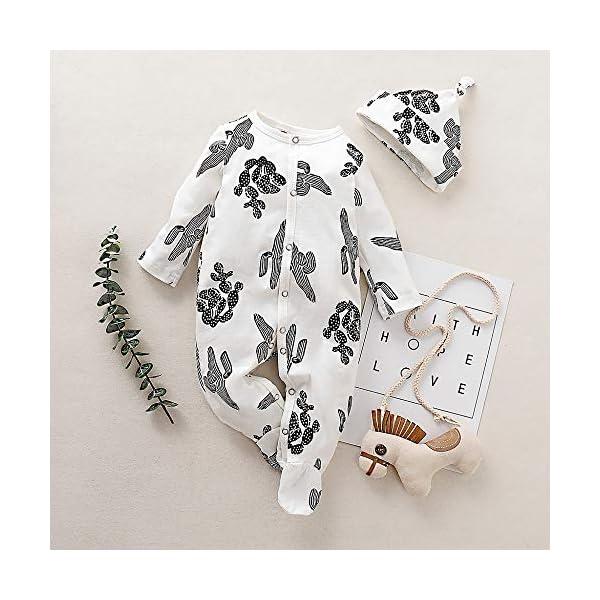 Conjuntos de Pijama+Sombrero recién Nacido bebé niño niña Mameluco de Manga Larga con Estampado Cactus Mono Primavera y… 2