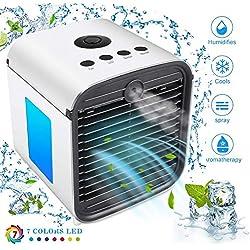 Miaogo Mini Climatiseur Mobile 3in1 Humidificateur et Purificateur, pour Bureau Voiture Chambre Couche (Blanc)