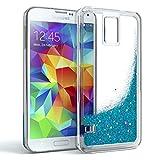 EAZY CASE GmbH Samsung Galaxy S5 / S5 LTE+ / S5 Duos / S5 Neo Schutzhülle mit Flüssig-Glitzer, Handyhülle, Schutzhülle, Back Cover mit Glitter Flüssigkeit, Silikon, Transparent/Durchsichtig, Blau