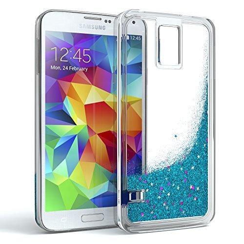 EAZY CASE Hülle für Samsung Galaxy S5/LTE+/Duos/Neo Schutzhülle mit Flüssig-Glitzer, Handyhülle, Schutzhülle, Back Cover mit Glitter Flüssigkeit, aus TPU/Silikon, Transparent/Durchsichtig, Blau Blau Back Cover