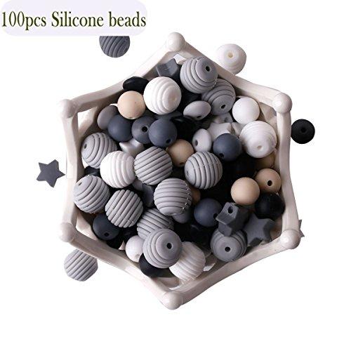 baby tete Baby Silikon Beißring Perlen 100pcs BPA Frei Essen Grade Zahnen Schwarz Weiß Serie DIY Schmuck Kaubare Pflege Halskette Zubehör