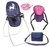 Bayer Design 63654AB Vario Set 9 in 1 mit Hochstuhl, Tasche, Trage, Teller, Gabel, Löffel, Puppenzubehör, blau rosa Einhorn