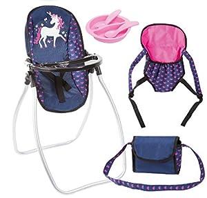 Bayer Design 63654AB - Trona y accesorios para muñecas, unicornio , azul y rosa