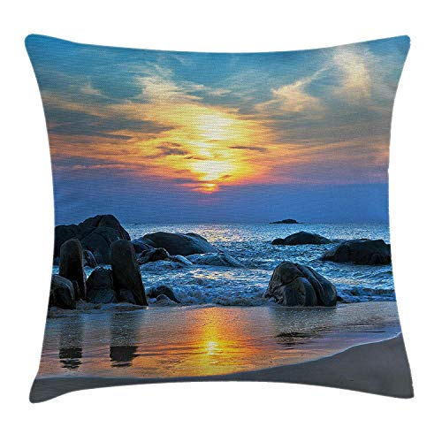VVIANS Beach Throw Pillow Cushion Cover, Sunset Scenery in Sandy Beach with Rocks and Waves Lonely Peace Morning Dream Earth, Decorative Square Accent Pillow Case, 18 X 18 Inches, Blue Yellow