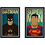 Batman And Superman Poster's With Wooden Frame | Package Of Two Wooden Framed Poster (Size: 12X8 Inches, Paper Quality : 300 GSM , Quantity : 2 Framed Poster ) From Interio Crafts