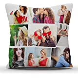 k1gifts 9 Photos Personalized Collage Satin Photo Pillow (White)