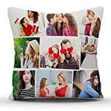 k1gifts 9 Photos Personalized Collage Satin Photo Pillow (White) 12 * 12 INCH
