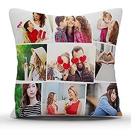 k1gifts 9 Photos Personalized Collage Satin Photo Pillow (White)
