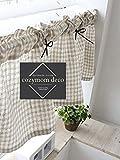 cozymomdeco Überprüfen, die Baumwolle Leinen Cafe Gardine, Küche Volants, europäische ländlichen Fashion Fenster Vorhang für Home, einem Stück 30(W) X135Weihnachtskarte (L) cm