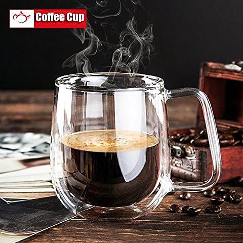 Aliciashouse 200ml de la pared doble taza de cristal transparente de cristal doble de café Taza de café cristalería
