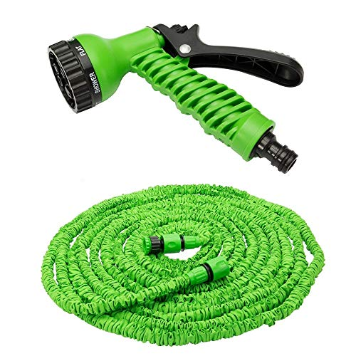 HKANG 25ft/50ft/75ft/100ft Multi Function Xpanding Tuyau d'eau De Jardin Pipe & 7 Fonction Spray Pistolet Extensible Flexible Magic Hose Anti-Fuite Léger Facile De Stockage,75ft
