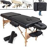 TecTake Table Lit de Massage Pliante Portable épaisseur de coussin 7,5cm + Rouleau + Demi-rouleau - diverses couleurs au choix - (Noir | No. 400421)
